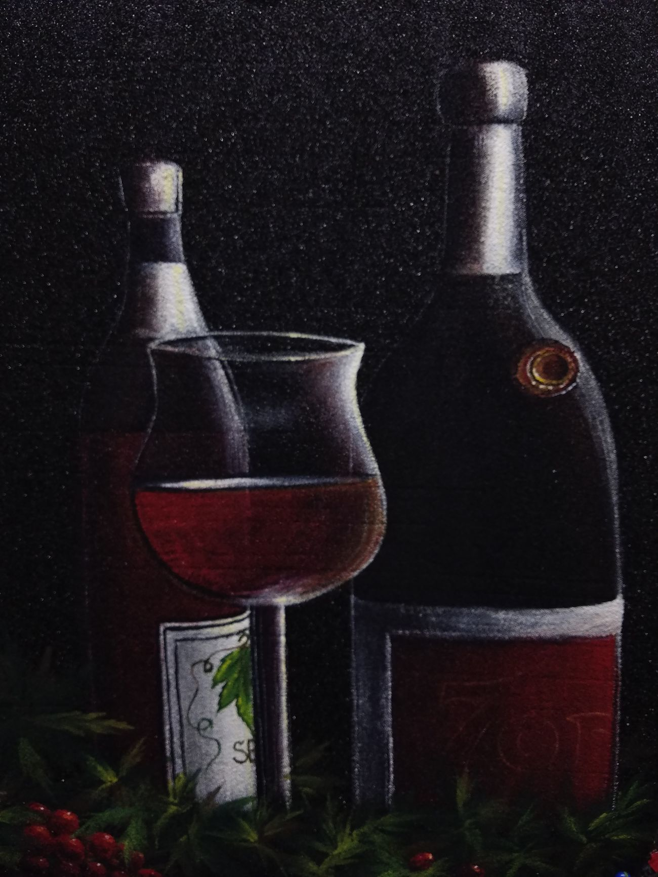 """Red Wine, Acrylic on my secret canvas 18""""_24"""".i dedicate this canvas to my lovely beautiful Pp baby lets drink this together, love you. Wine Bottle Drinking Glass Creativity Painting Drawing Fine Art My Art Colllection Freedom Fine Art Painting Art, Drawing, Creativity Art My Art Collection Acrylic Fine Art. Friendship. ♡   Love❤ Koi with My Best Friends ❤"""