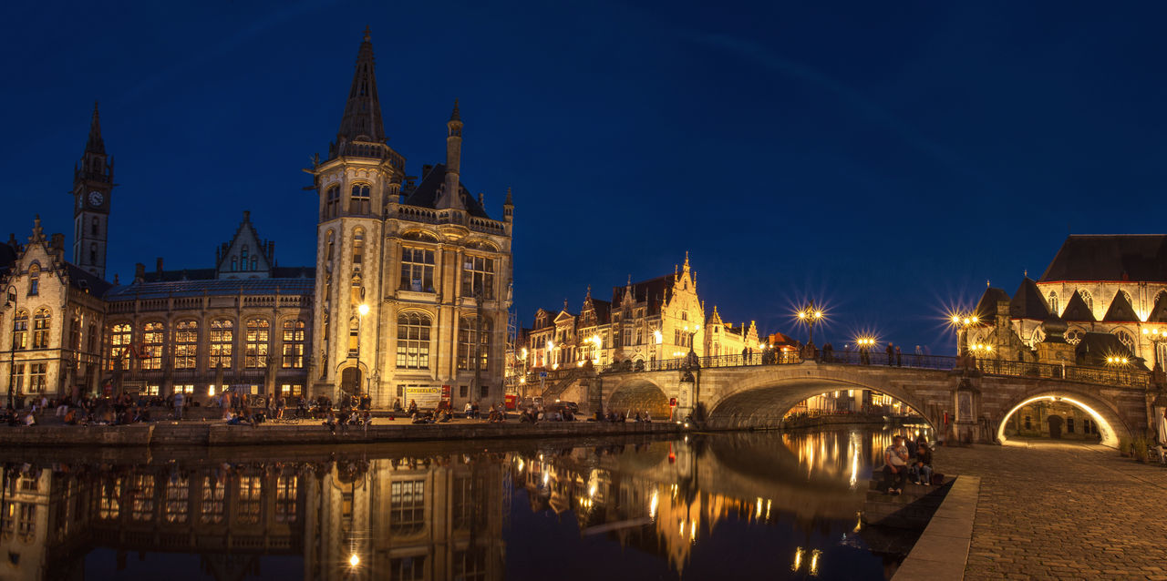 Architecture in center of Gent City from Belgium. Architecture Belgium Bridge Building Canal Center City Cityscape Europe Exterior Gent Ghent Historic Historical Illuminated Landmark Night Panorama Reflection Street Light Street Photography Tourism Town Travel Urban
