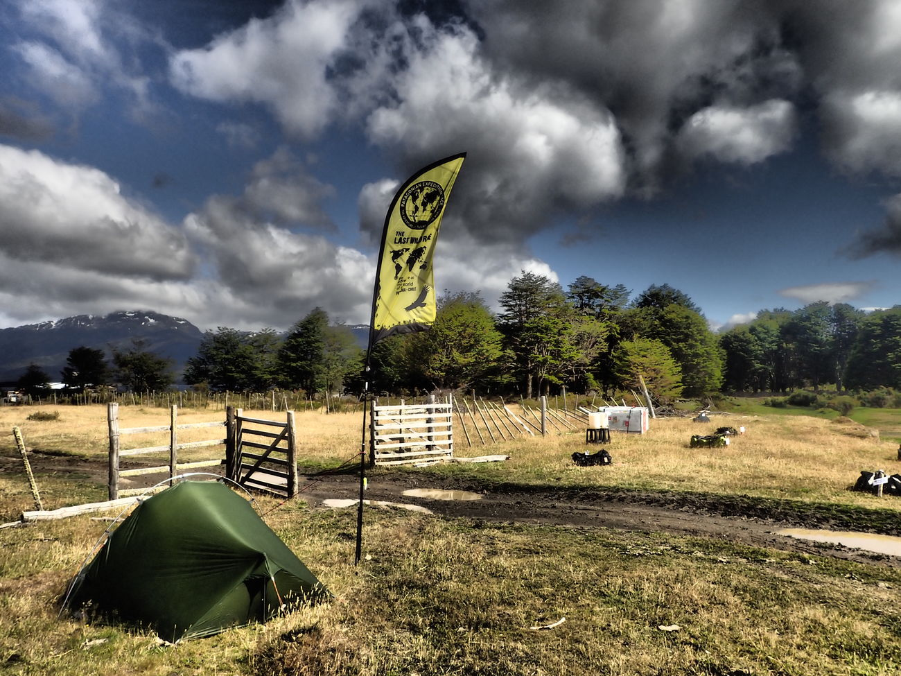 my Tent at the Patagonian Expedition Race waiting for the teams to do their trekking bike transition