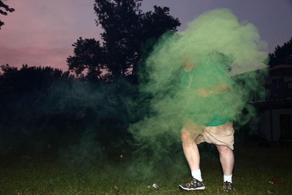Outdoors Night Shot Night Smoke Smoke Bomb Green Running Michigan West Michigan Holland Faceless People Candid Canon Strobist Celebrate Green Smoke