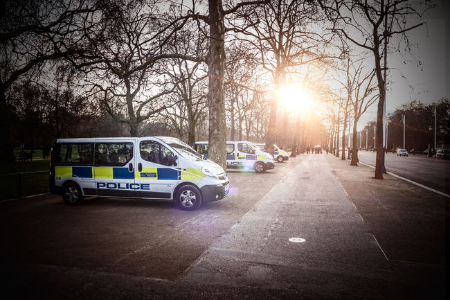 Waiting, hoping Car Land Vehicle London LONDON❤ Outdoors Park Parking Pavement Police Police Vans Shadow Stationary Street Sun Flare Sunshine Transportation Tree Vignette