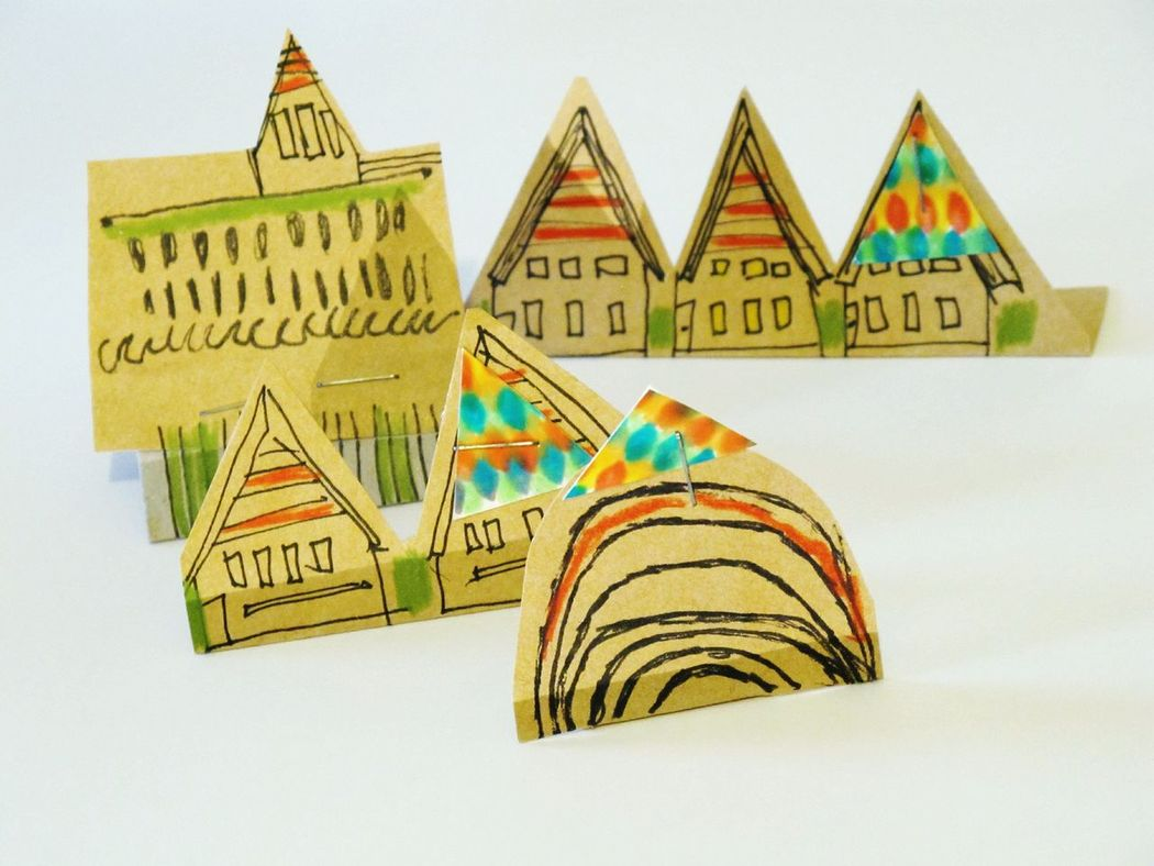 Paper View Paper Houses Illustration Pointed Colourful Colour Drawing Art Town Scene Hamlet Papertown Showcase: December Urban Sculpture Sculptures Creative Brown Paper Contemporary Sculpture Printmaking Textures And Surfaces Materials Inspired Composition
