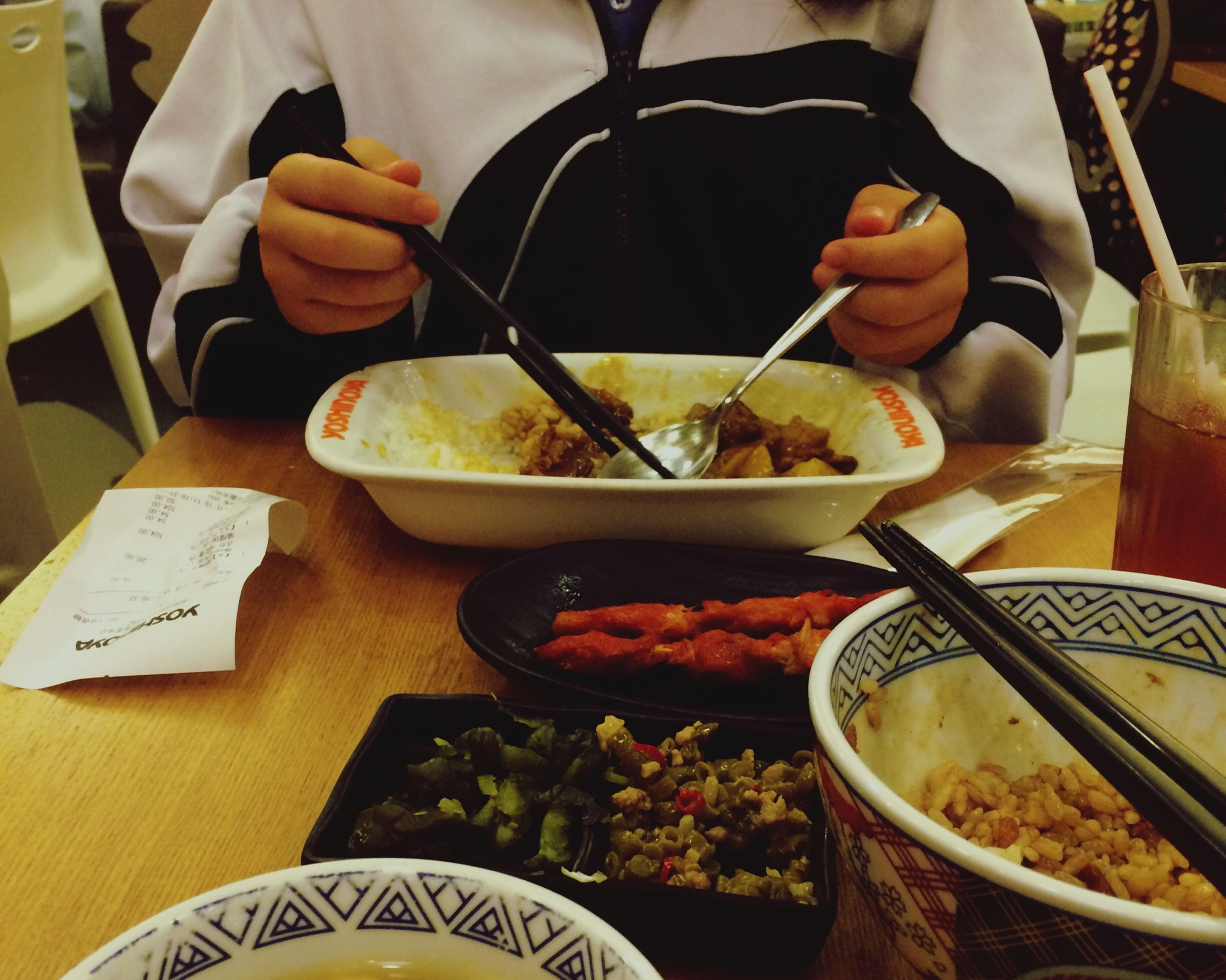 food and drink, food, freshness, indoors, table, healthy eating, ready-to-eat, bowl, high angle view, plate, still life, meal, spoon, vegetable, one person, serving size, fork, drink, indulgence, chopsticks