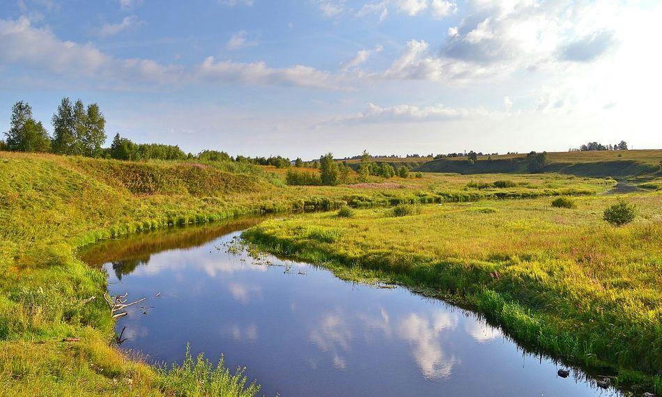 Doibitsa River Nature Mirror Landscape Russia Fields Sky
