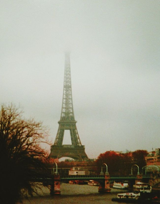 Paris Eiffel Tower Leading Lines Autumn Colors Foggy Morning Oldpictureofme Foggy Weather Grey And Foggy Cityscapes Twillight Filmcamera Twilight Seeing The Sights