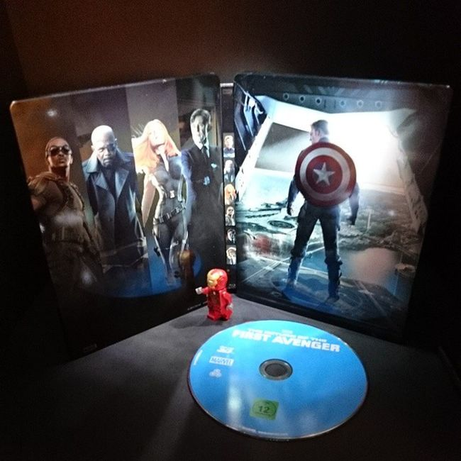 "Going to watch Now :) ! Steelbook Bluray Marvel superheroes ""the return of the first avenger "" captainamerica lego minifigure ironman movie ... play"