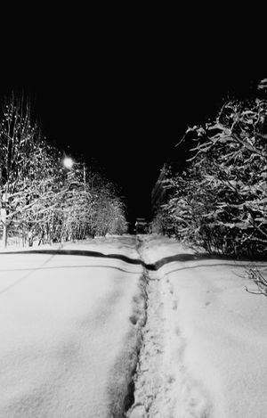 Trail in Snow Murmansk Winter Night View Night Photography Eye4black&white  Monochrome Black And White Small City Life