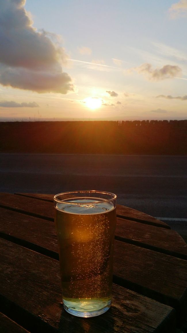 Cider Pint Table Sunset Sky Clouds Bubbles