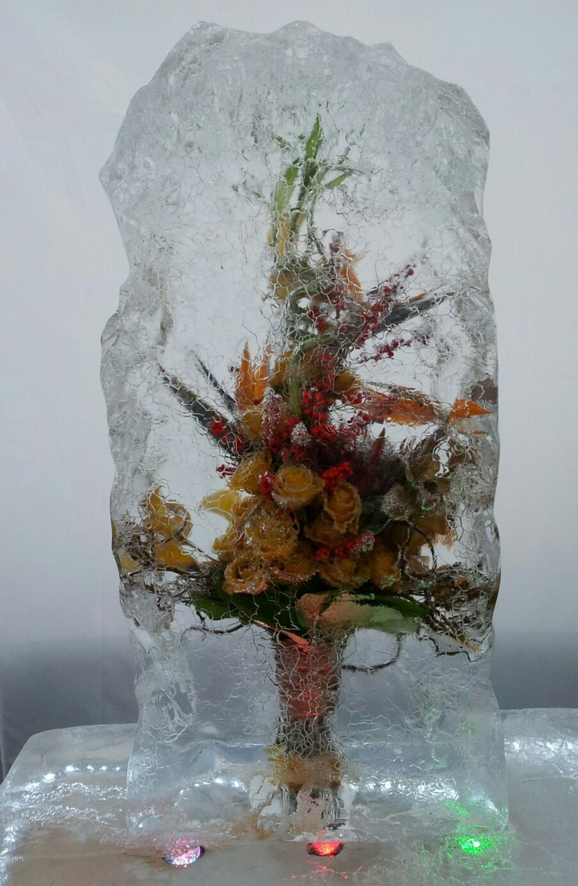 Bouquet of flowers in ice