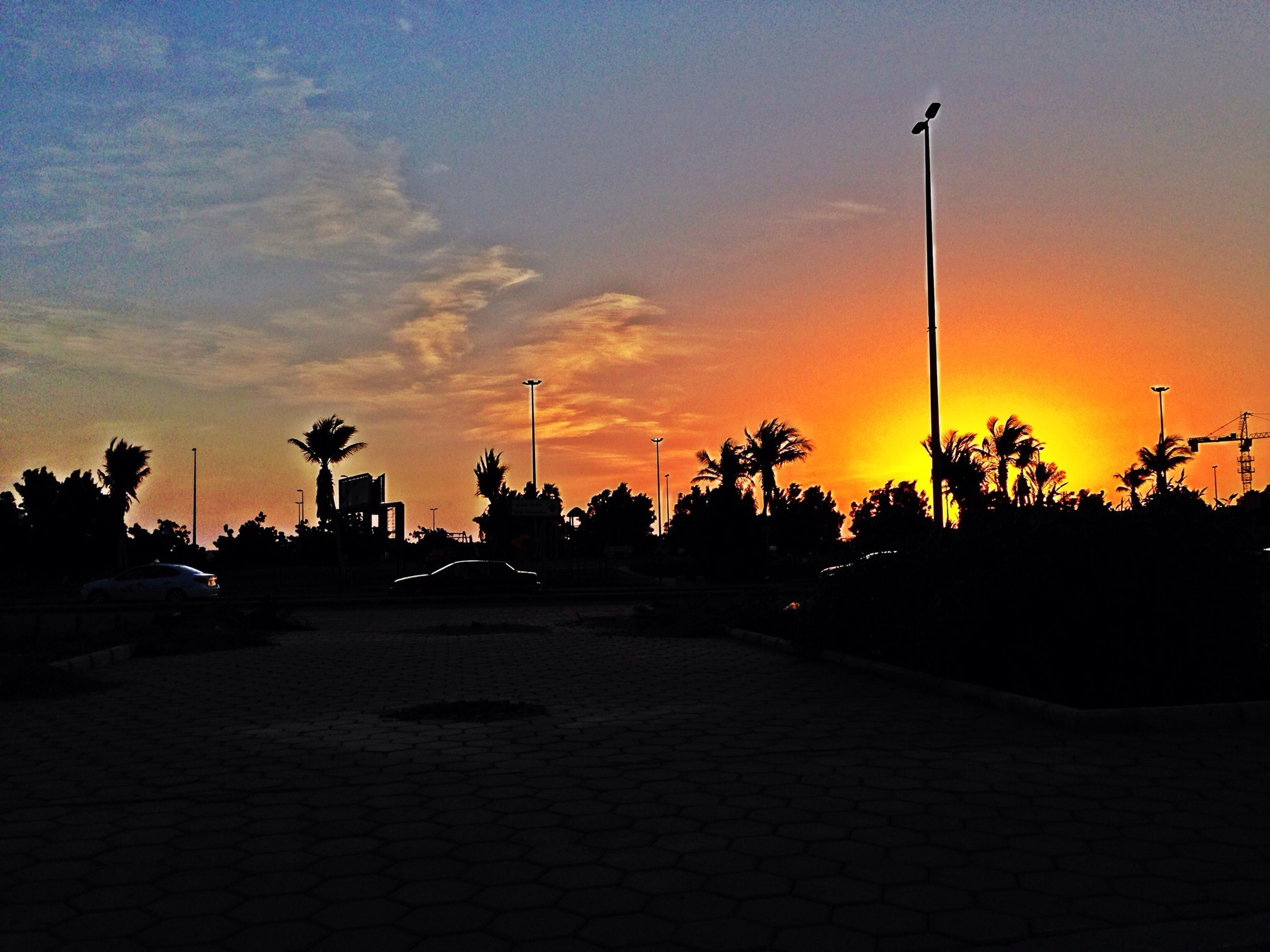 sunset, silhouette, sky, street light, orange color, road, street, the way forward, tree, cloud - sky, transportation, palm tree, dusk, cloud, scenics, beauty in nature, tranquility, tranquil scene, nature, outdoors
