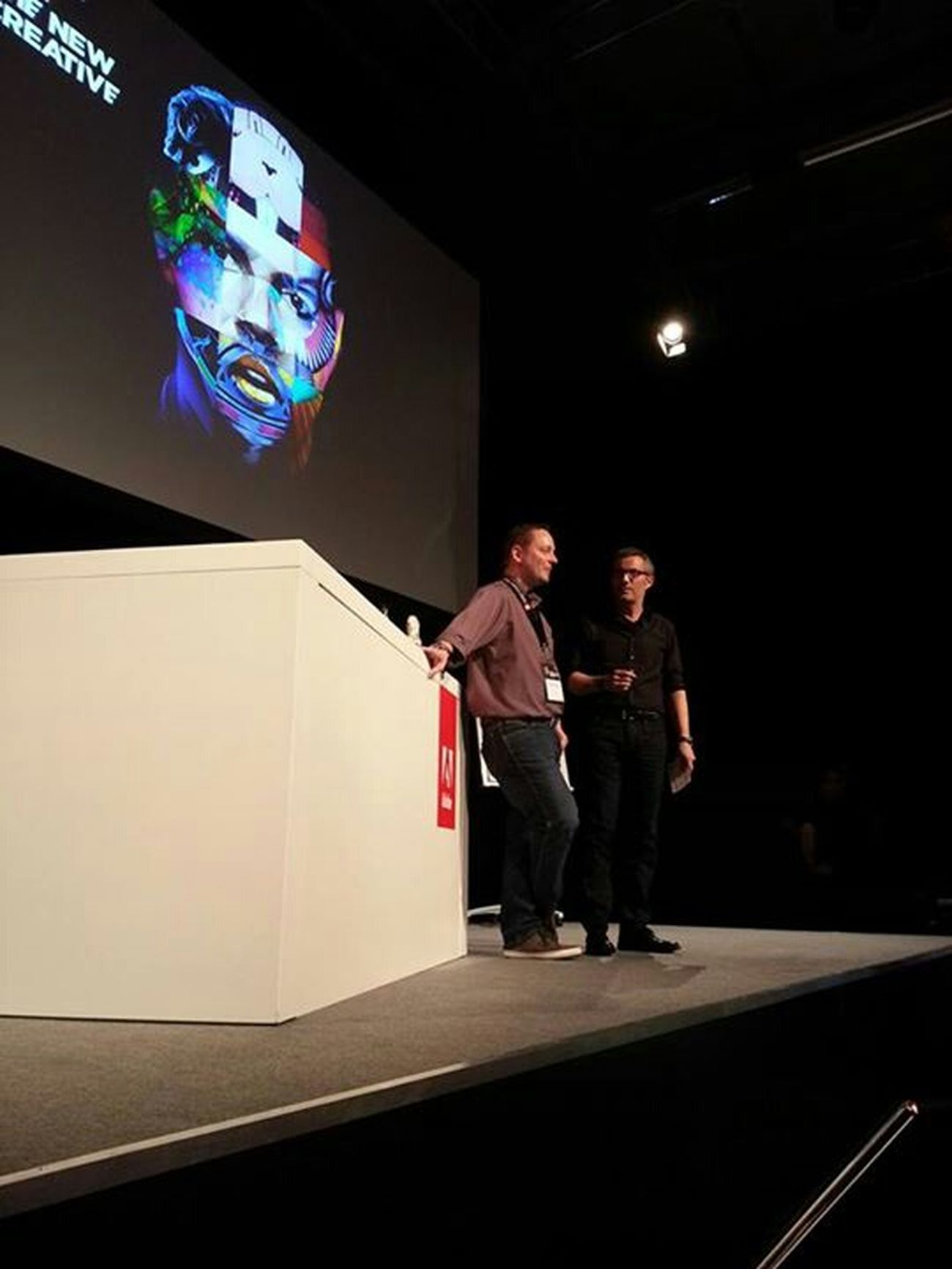 Me speaking at the Adobe Create Now / Creative Jam Event in Berlin , Germany . The event was streamed live on Adobe.de with over 2000 viewers. ( Adobe Photoshop Art Keynote Check This Out Hello World Hi! Behance )