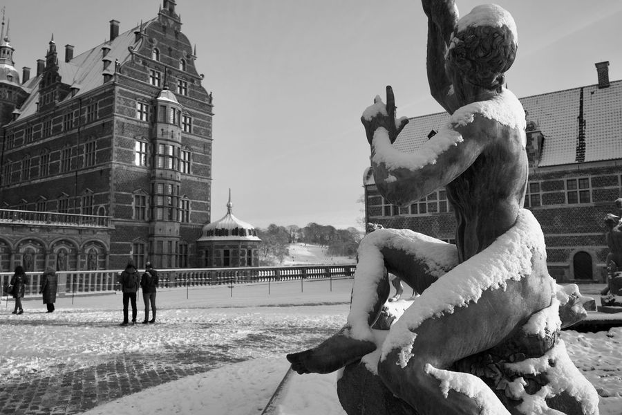 Frederiksborg slot Snow ❄ Winter Hillerød Frederiksborg Castle Built Structure Building Exterior Architecture Art And Craft Statue Sculpture Animal Representation Day Outdoors Sky City