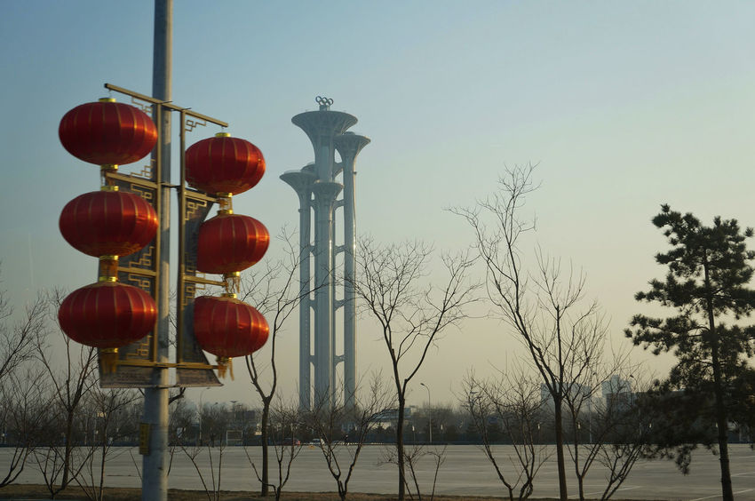 Olympic Olympic Park  Olympics Clear Sky Cold Temperature No People Outdoors Red Sky Winter