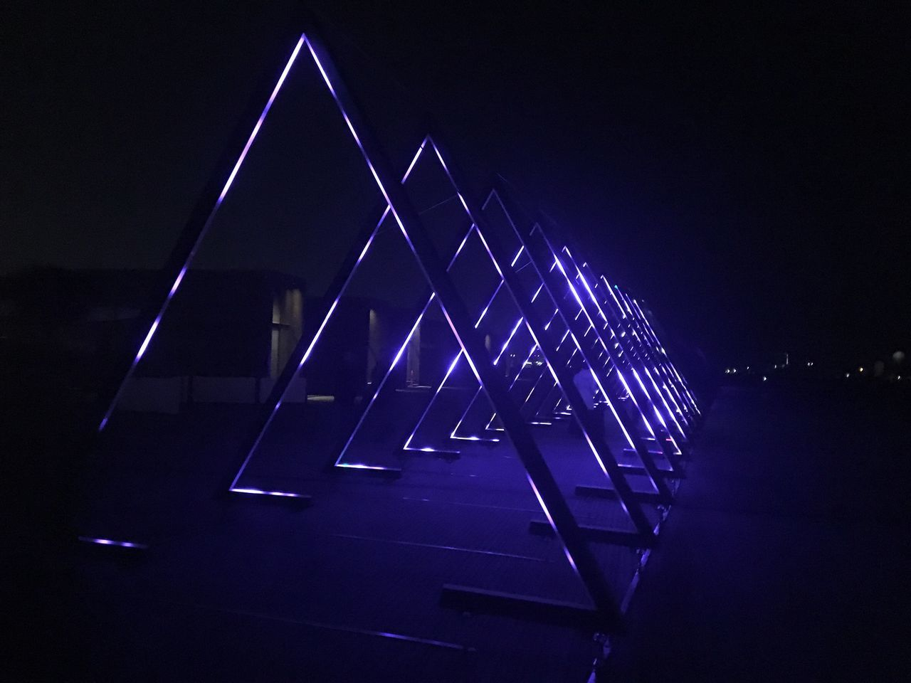 night, triangle shape, illuminated, architecture, no people, blue, built structure, outdoors