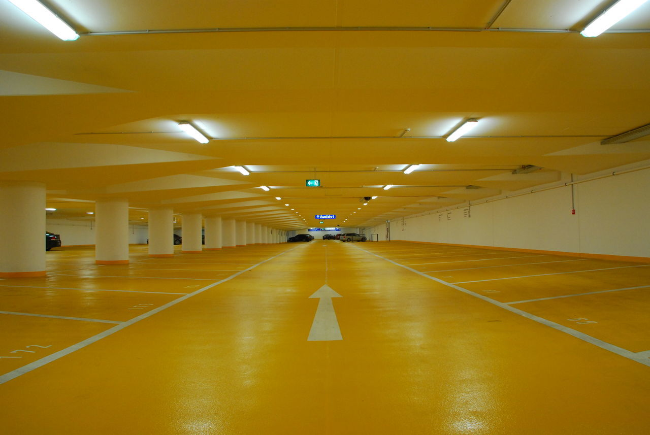 ceiling, illuminated, indoors, yellow, the way forward, empty, built structure, architecture, no people, day