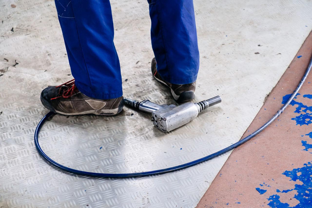 Beautiful stock photos of work, Blue, Footwear, Garage, Ground