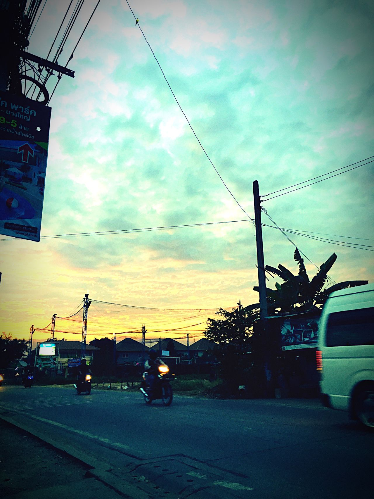 Transportation Mode Of Transport Land Vehicle Sky Car Cloud - Sky Real People Outdoors Day Real People, Real Lives 3XSPhotographyUnity Sunset Finding New Frontiers 3XSPhotographyUnity Weird looking sky today in Thailand...