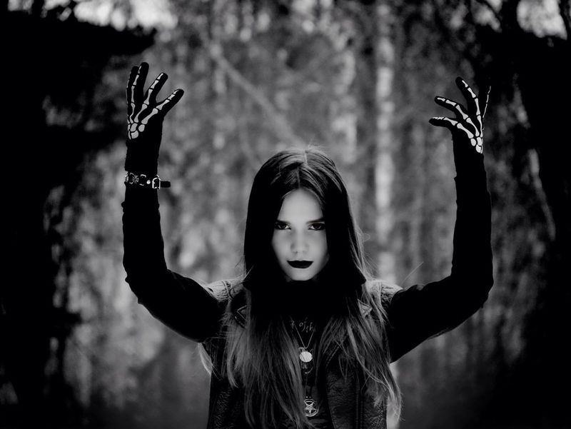 Taking Photos Girl Metal That's Me Belarus. Minsk In Forest Goth
