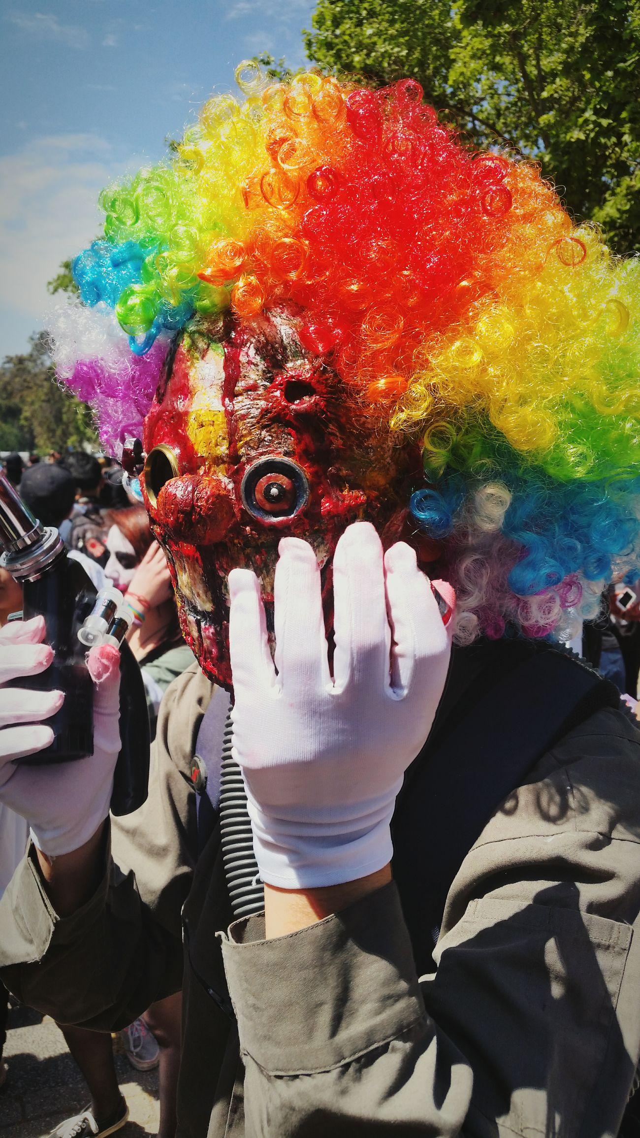 Zombie clown Zombiewalk  Zombieclown Makeupartist Wig Clown Amateurphotography Amateurphotographer  SamsungGalaxyS5 Colorful Santiago De Chile