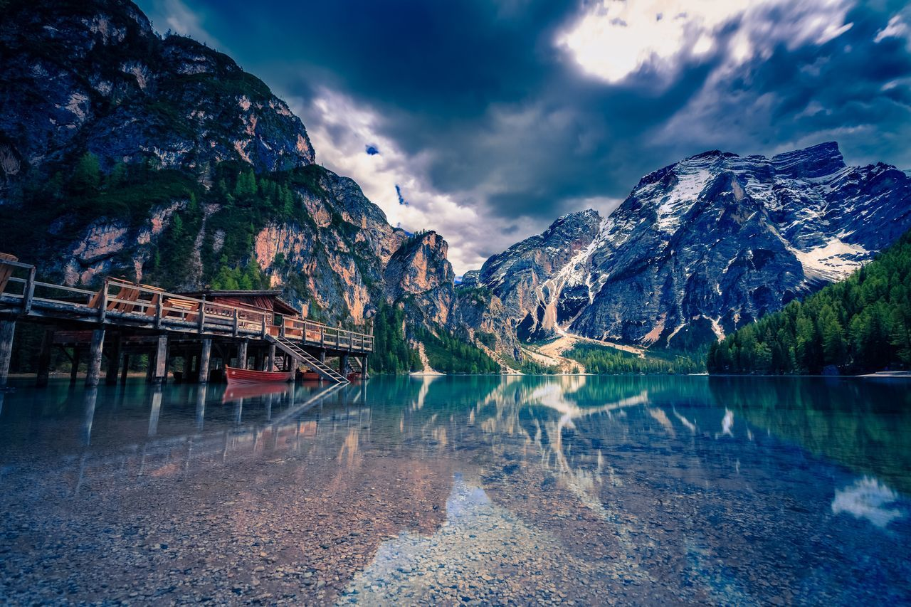 Beauty In Nature Calm Cloud Cloud - Sky Cloudy Day Feel The Journey Idyllic Lago Di Braies Lake Lake View Landscape Mountains Mountains And Sky Non-urban Scene Outdoors Pragserwildsee Reflection Sky Südtirol Tranquility Water Weather