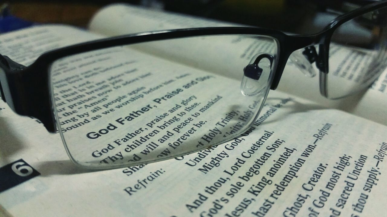 Close-up No People Indoors  Eyeglasses  Day Bible Religion Belief Simple Photography Praise God Word Of Wisdom