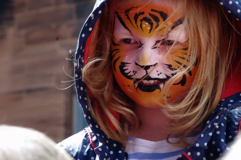 Cutest little tiger in the city :) Child Facepaint Facepainting Tiger Smile Happy Portrait Children Girl People Cute Sweet Giggle Hood Blonde Glasgow  Scotland West End Festival Everyday Emotion Natural Light Portrait Colour Of Life