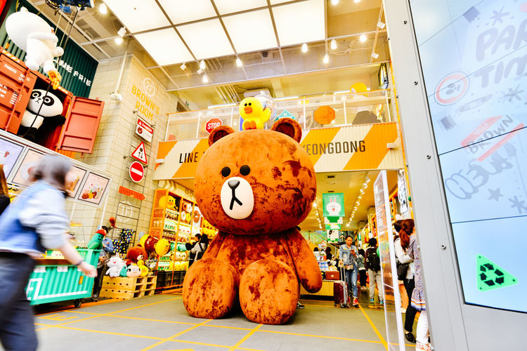 LINE Store In Myeongdong Seoul. The LINE mascots could be the most popular Japanese export in South Korea! LINE Store Mascots Shopping Seoul South Korea MyeongDong Travel Bear Giant Merchandise Cute Japan