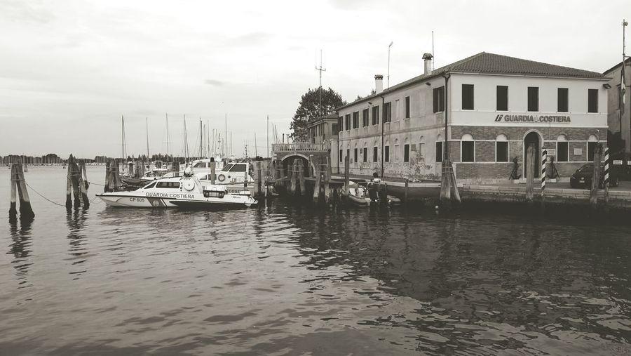 Chioggia, Italy Canals Lagoon Chioggia Veneto Italy Wood Boats Docks Placid  Tranquil Scene Calm Coastguard Water Dusk Blackandwhite Vintage EyeEm Best Shots Outdoors No People EyeEm Gallery