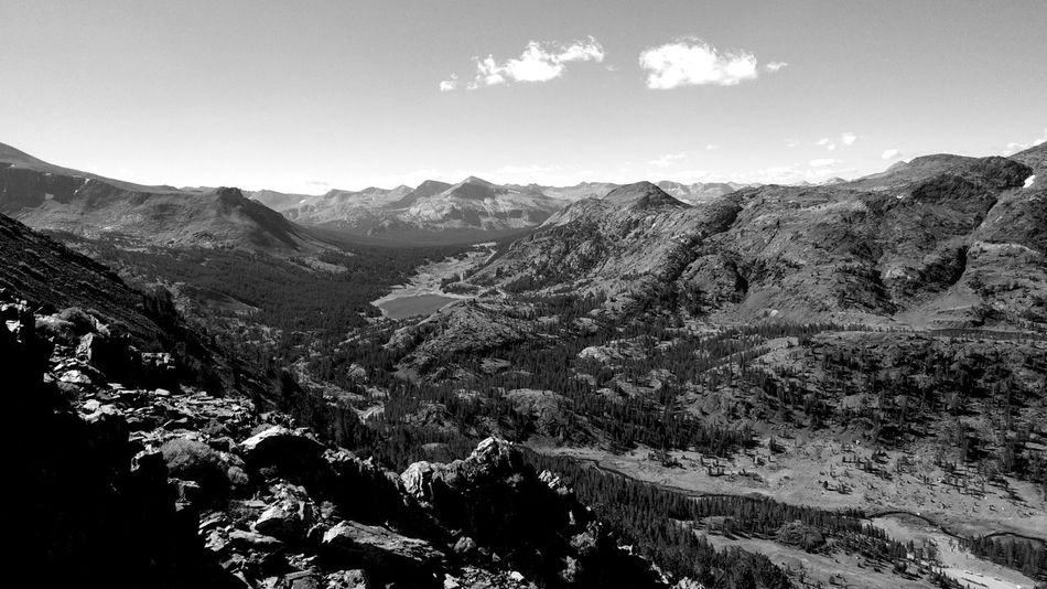 Black and white landscape looking over Tioga Pass toward Yosemite National park. Image taken at an altitude of 11,000 feet or 3,345 meters. Mountain Beauty In Nature Landscape Black And White Mountain Landscape Physical Geography High Angle View Of Yosemite Outdoors Mountain Range Yosemite National Park Inyo National Forest California Sierra Nevada Mountains Hiking Tranquility Mountain Climbing Beauty In Nature Backgrounds Black And White Photography Monochrome Photography