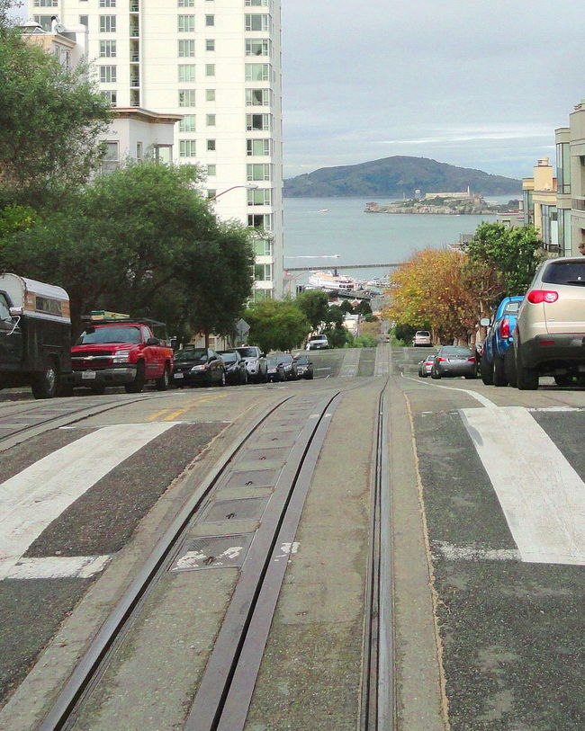 Alcatraz Island Architecture Bay Area Building Exterior Built Structure Cable Car Tracks Car City City Life Diminishing Perspective Land Vehicle Mode Of Transport No People Office Building Outdoors Residential District Street Town Transportation Travel Destinations Tree Vehicle