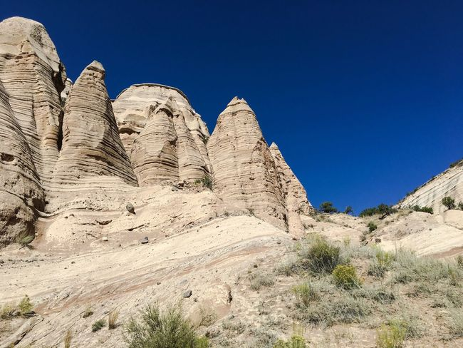 Blue Clear Sky Low Angle View Tranquility Beauty In Nature Tranquil Scene Rock Formation Scenics Nature Non-urban Scene Day Geology Cliff Outdoors Solitude Eroded Valley Non Urban Scene Arid Climate No People Kasha-Katuwe Tent Rocks National Monument USAtrip Travel Destinations Tourism USA