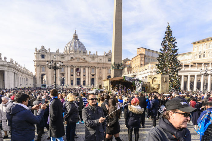A crowd in St. Peter's Square, Rome on Christmas Day 2016. Ancient Architecture Ancient Civilization Capital Capital City Cityscape Cityscapes Crowd European  Heritage Italia Italian Landmarks Roman Rome Rome Italy Selfie St. Peter's Basilica St. Peter's Square Tourism Tourist Destination Travel Travel Destinations
