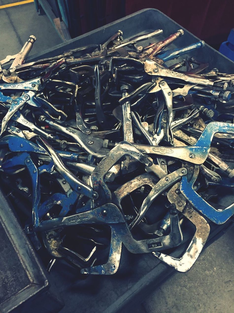 Who wants to grind weld spatter off all these clamps? Nobody. But I did it. And it was the worst! Weld Shop Summer Student Shitty Day