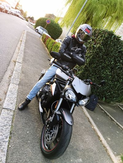 """Triumph 800 Street Triple RS"" Full Length Motorcycle Day Riding Headwear Transportation Outdoors Lifestyles Sports Helmet Real People Shoei Street Triple RS Triumphmotorcycles City City Life Cars Tree Classy"