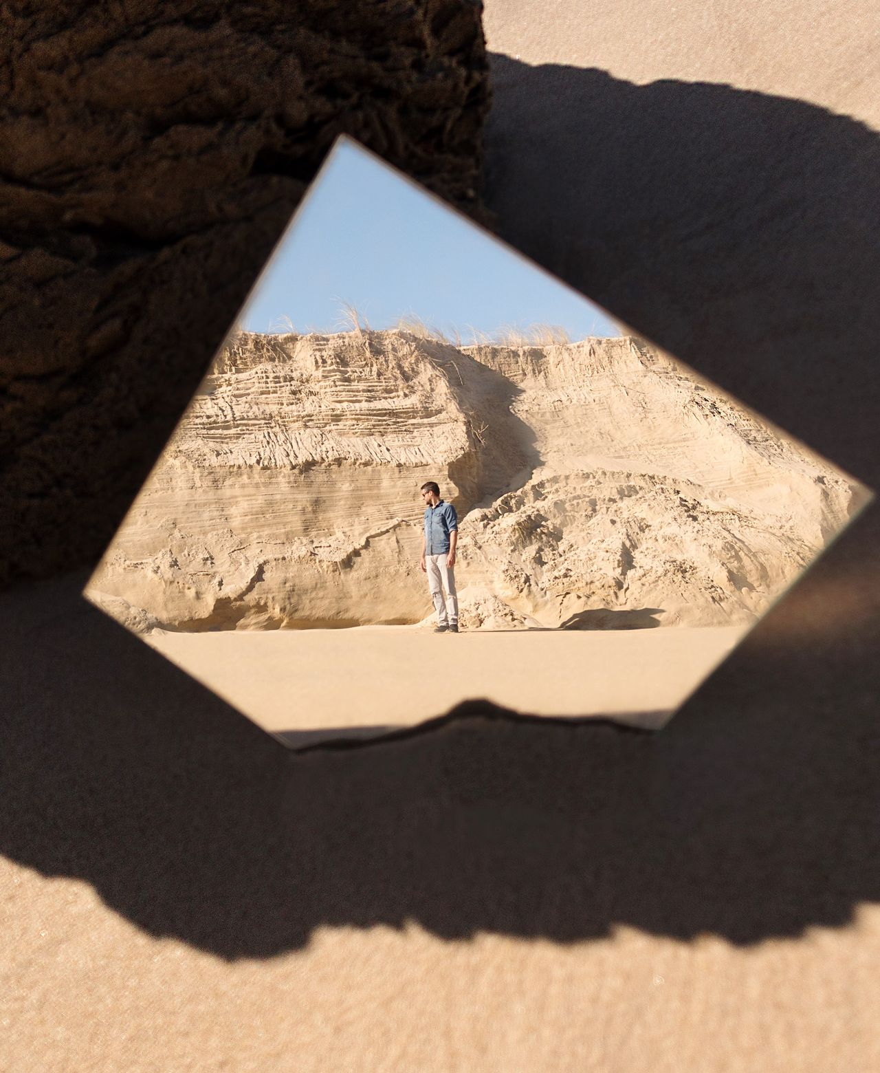 shadow Sunlight Desert sand one person arid climate real people sand dune outdoors lifestyles Nature TheWeekOnEyeEM The Week on EyeEm Reflection Mirror mirror reflection