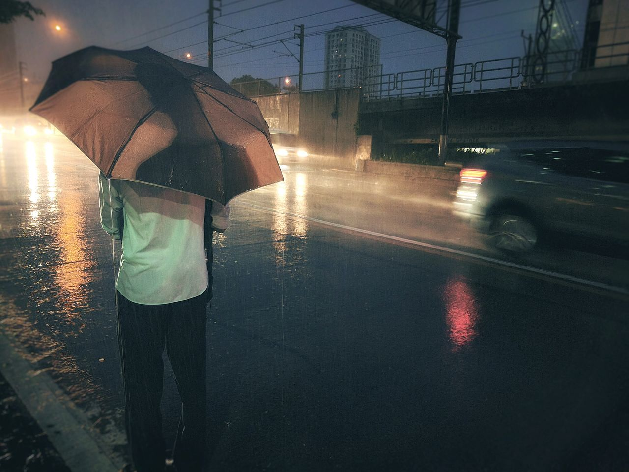 Raining Rainy Days☔ Rain Rainy Outdoor Photography Outdoor Pictures Waiting For The Bus Waiting Night Rain After Work Real People Umbrella☂☂ Umbrella Cold Days Cold Night Eyeem Philippines Rain Collection Weather Collection Quezon City Philippines
