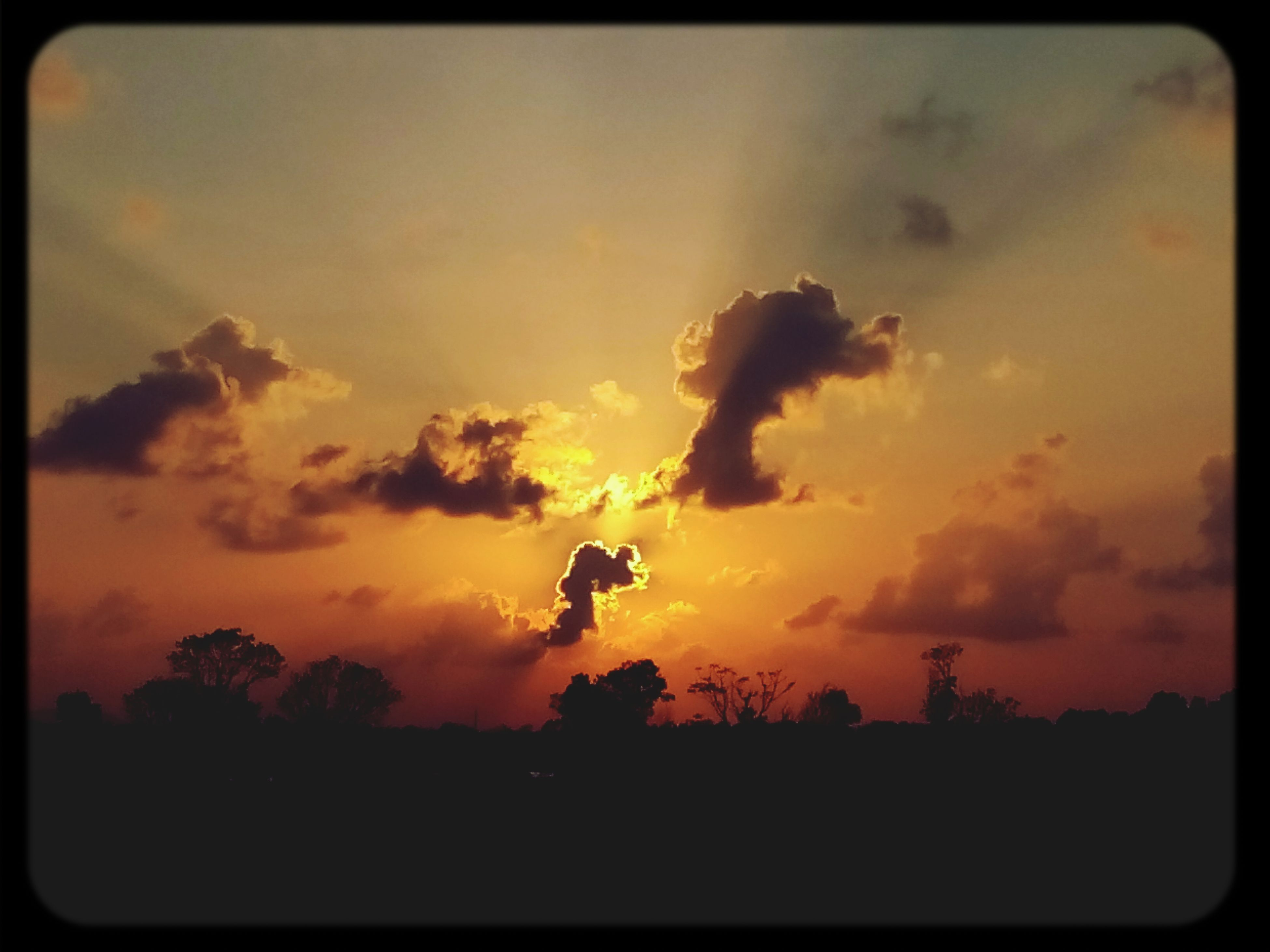 transfer print, sunset, silhouette, auto post production filter, sky, orange color, beauty in nature, scenics, tranquility, tranquil scene, tree, cloud - sky, nature, idyllic, sun, dramatic sky, cloud, outdoors, low angle view, no people