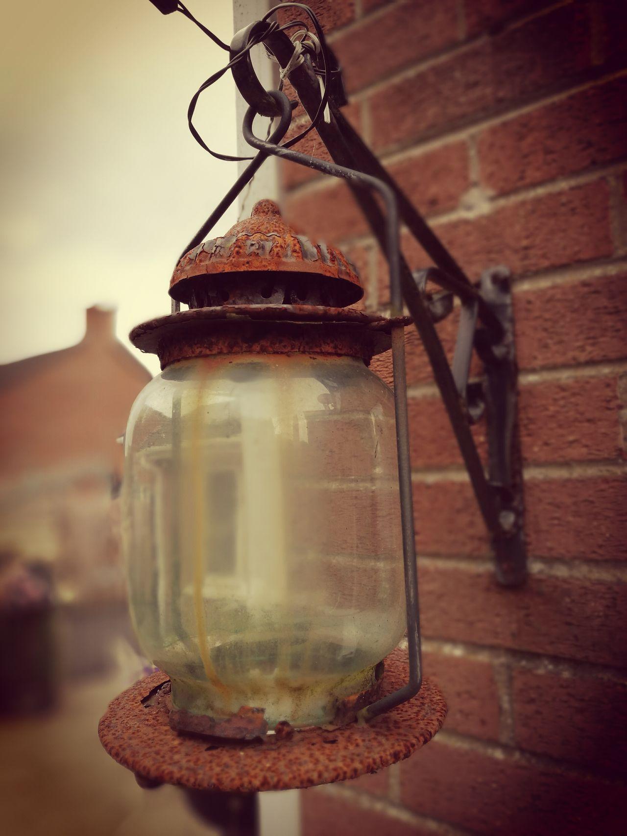 Rusty Lantern Rusty Lantern Glass Old Vintage