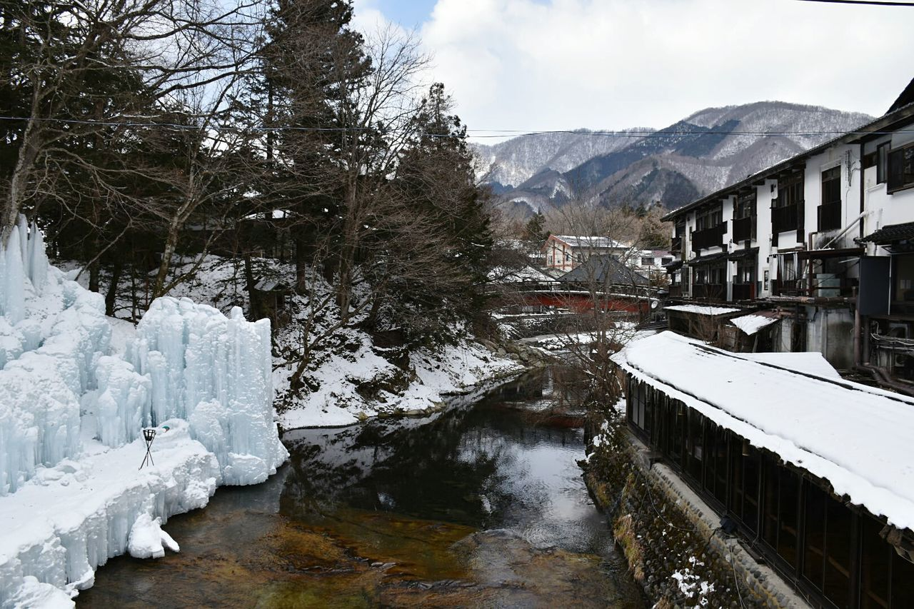 Nikko Onsen Ryokan Relaxing Nature Photography Japan Japanese  Japanese Architecture Hot Spring Hot Springs Hot Spring Resort Waterfall Frozen Waterfall Spa Sauna Relaxation Reflection Nature Water Sky Mountain Range Tree Winter Relaxing Self Care