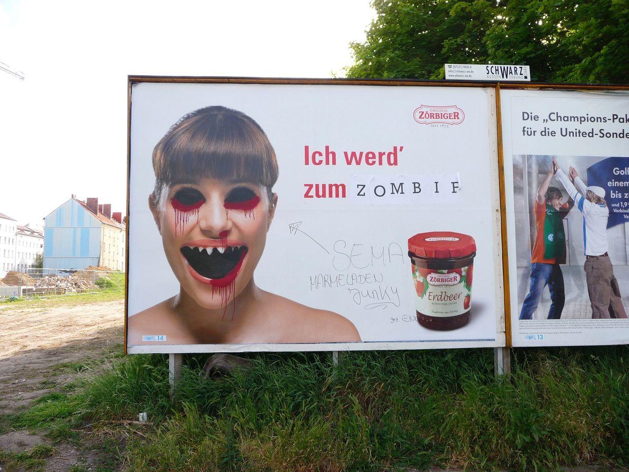 GERMANY🇩🇪DEUTSCHERLAND@ 2008 May Berlin Mitte Advertising Poster Billboard Graffiti Zombie Jam