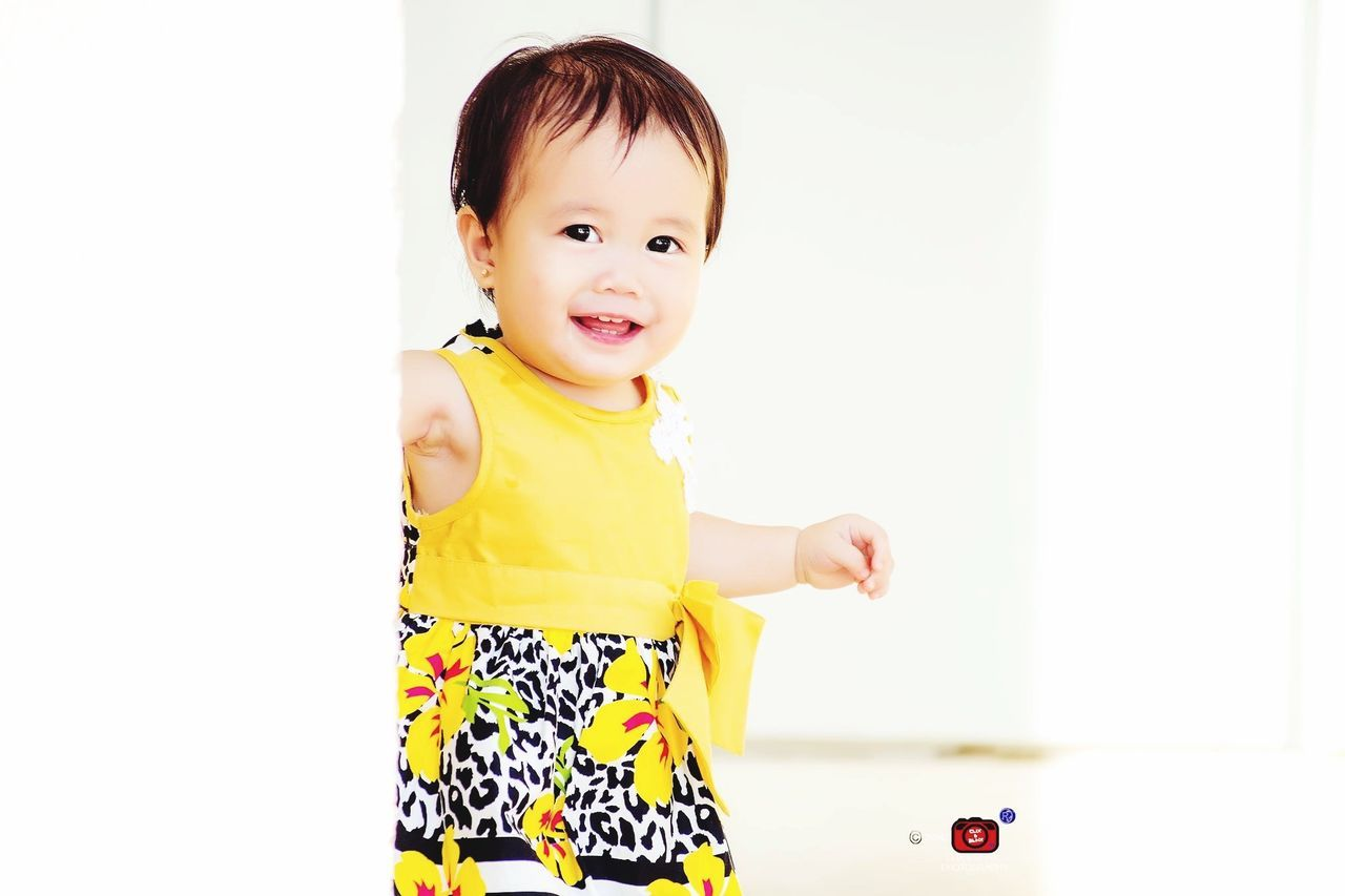 Innocence Childhood One Person Cute Baby Three Quarter Length Smiling Happiness Babies Only White Background Portrait People Indoors  Close-up Flavored Ice Day