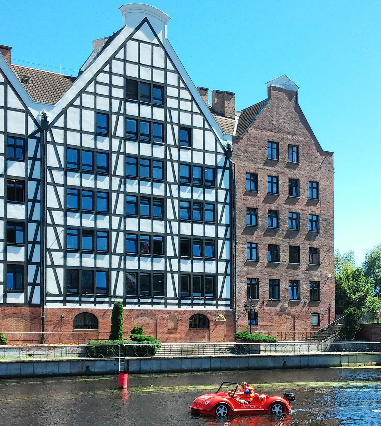 Amsterdam vibes in Poland #Amsterdam  #boat #Gdansk #river #symmetry #Windows Architecture Clear Sky Outdoors Window EyeEmNewHere