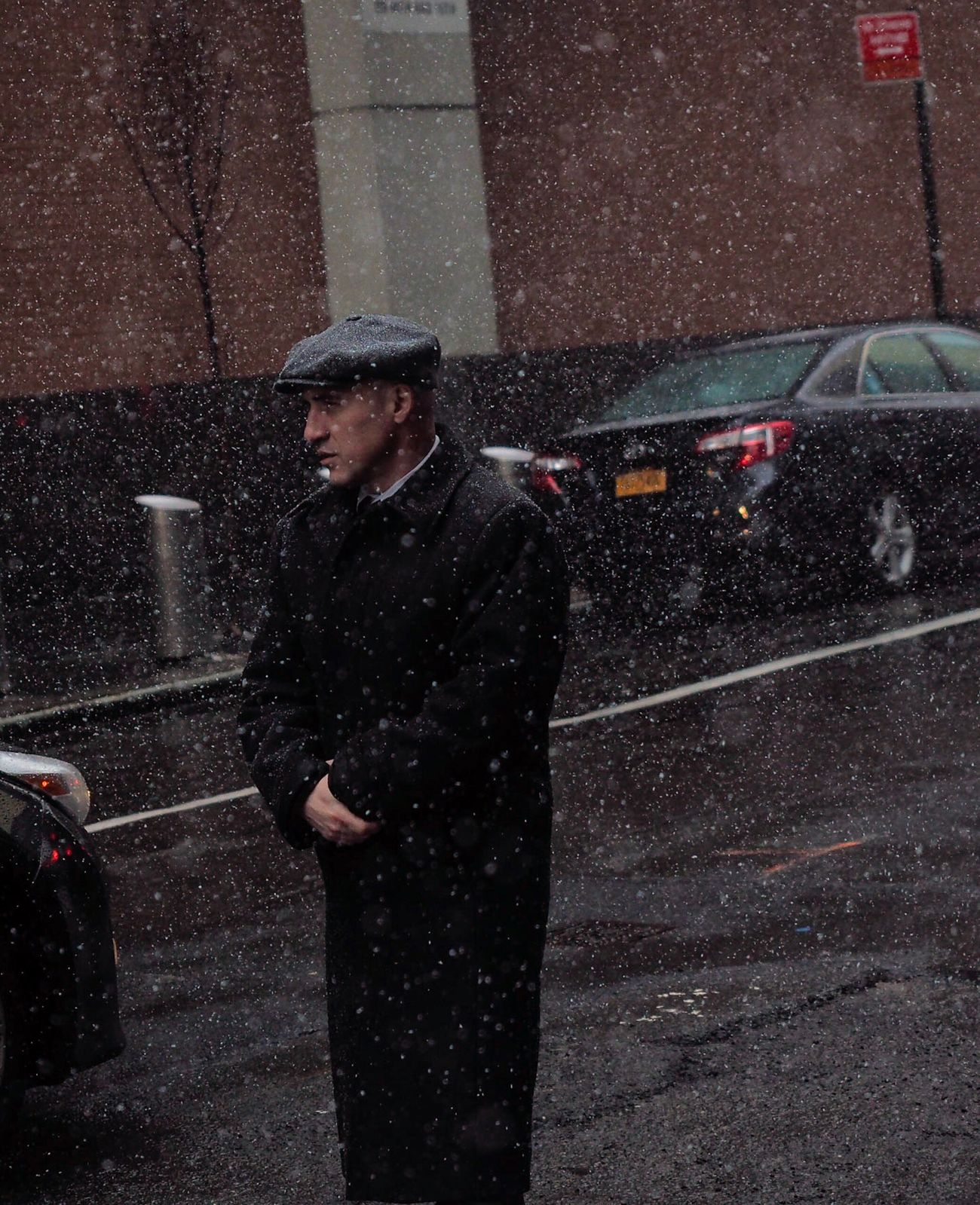 Winter is here! The Street Photographer - 2017 EyeEm Awards Three Quarter Length One Person Weather Snowing Street Transportation Car Cold Temperature Standing Outdoors Young Adult One Man Only Night Road Winter Man Manhattan NYC Street Photography Adults Only City Only Men Adult This Week On Eye Em This Week On Eyeem