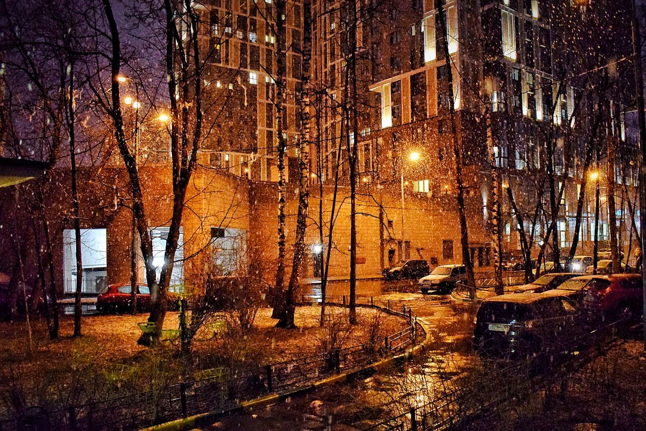 Winter's final breath 🌬❄️ Building Exterior Architecture Illuminated Built Structure Night Tree Outdoors City No People Bare Tree Winter Nature Snowing Building Night Photography Night Lights Nightphotography Nightlights Snow ❄ Snow Snow❄⛄ Moscow