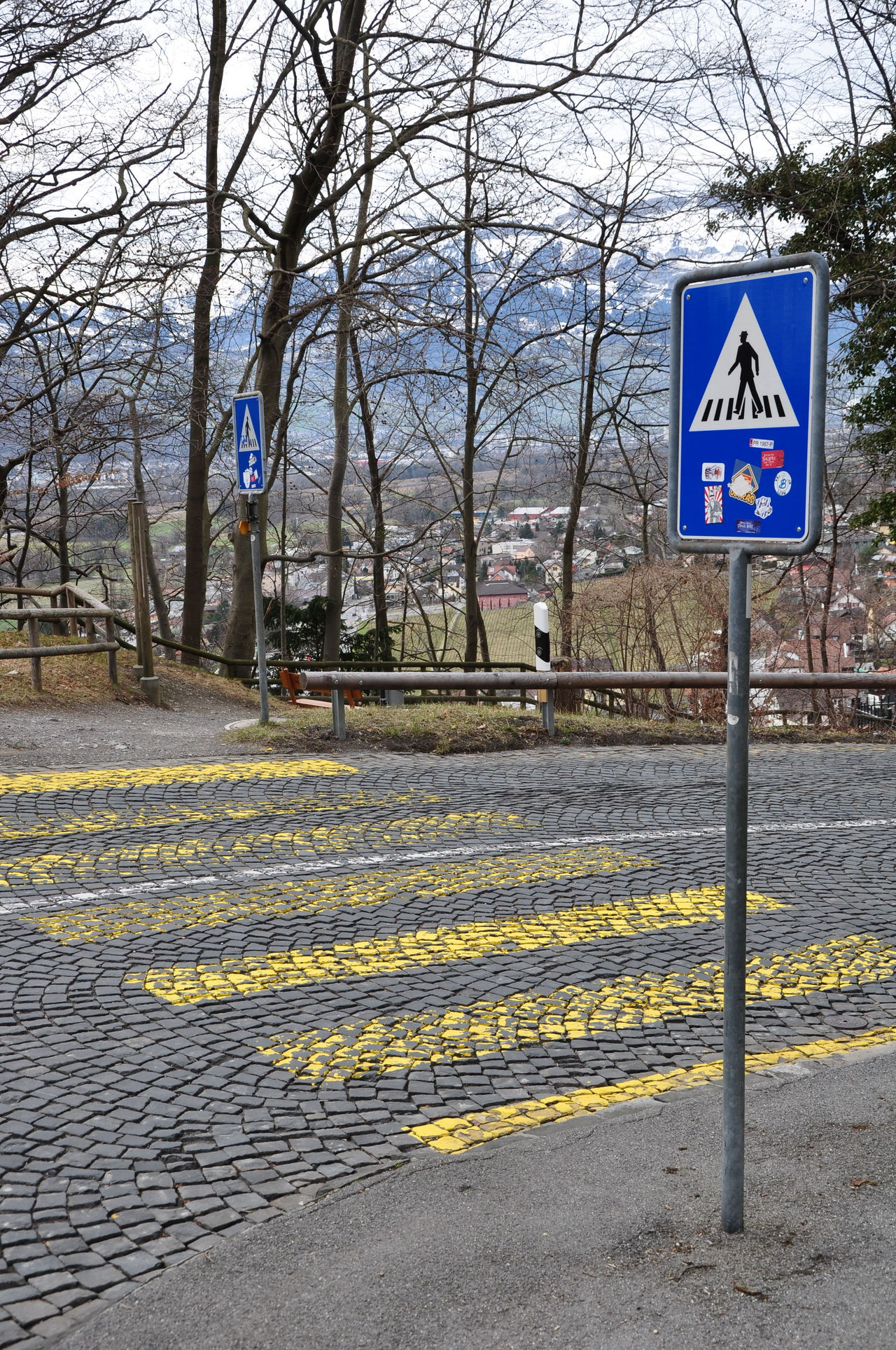 Alps Bare Tree Black Man Blue Communication Day EyeEm Gallery EyeEm No Edit Guidance Liechtenstein Mountain View Nature No People Outdoors Road Crossing Road Sign Spring Has Arrived Spring Into Spring Stones Text Tree Vaduz Watch Out! Yellow