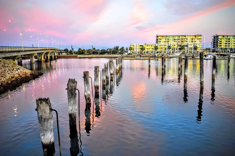 All way amazing the port Water Wooden Post Built Structure Reflection River Pole Cloud - Sky Canal Nature No People Outdoors Cloud Waterfront In A Row Sky Perching Daydreaming Livingthegoodlife Taking Photos Southeastsouthaustralia Adelaide S.A. Places You Must To See Placetovisit Placetobe Livingthedream