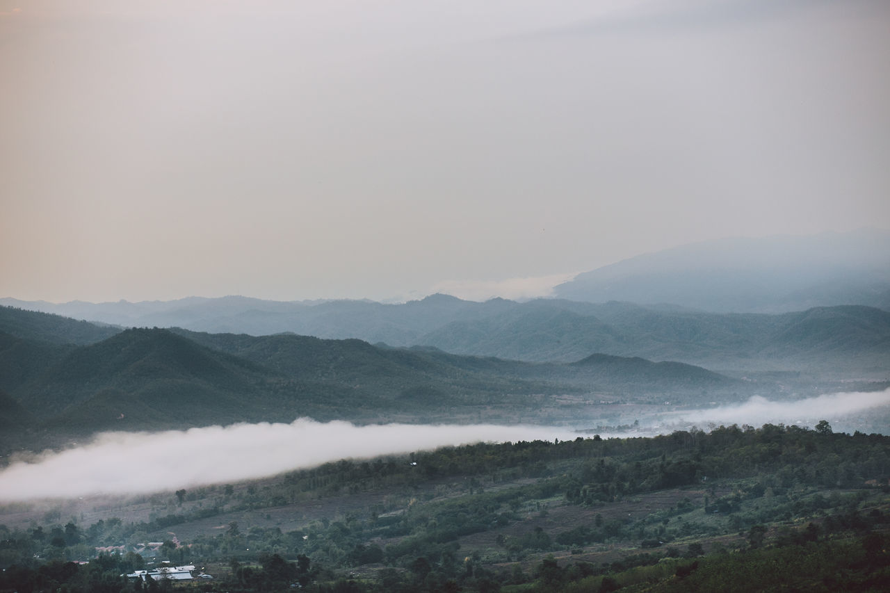 Beauty In Nature Dawn Fog Foggy Morning Landscape Morning Mountain Mountain Range Nature No People Outdoors Scenics Sky Thailand Tranquil Scene Tranquility Travel Destinations Tree