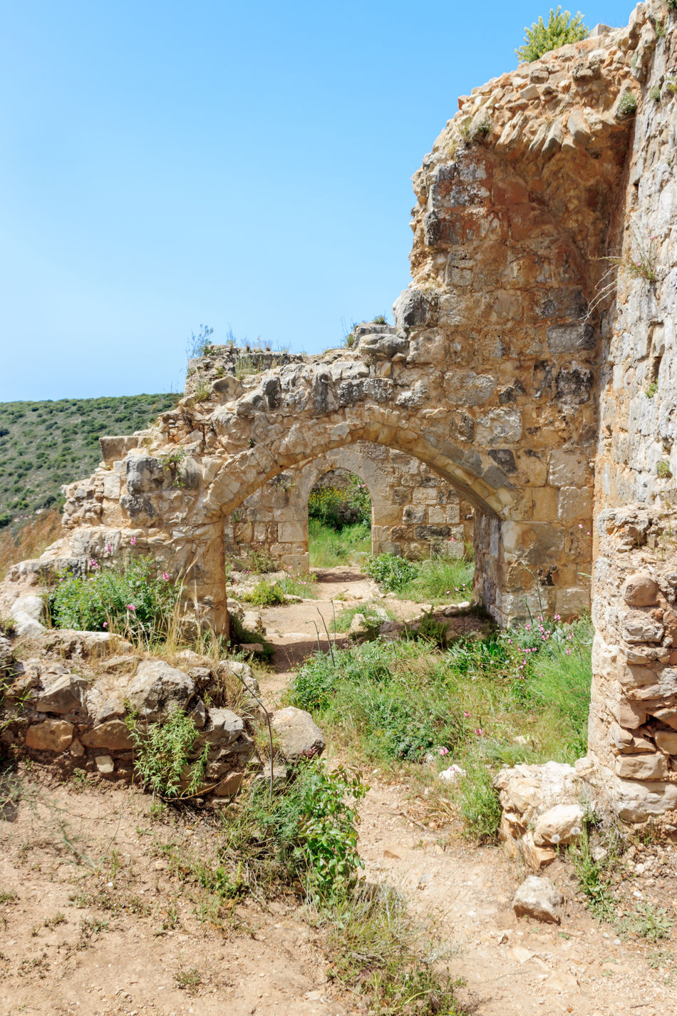 Montfort Castle ruins in northern Israel. Arched passageways through the halls. Ancient Archaeology Architecture Buildings Built Structure Castle Exterior Famous Fort History Landscapes Medieval Monfort Monuments Mountains Nature Object Old Place Protection Ruin Ruined Tourism Travel Wall