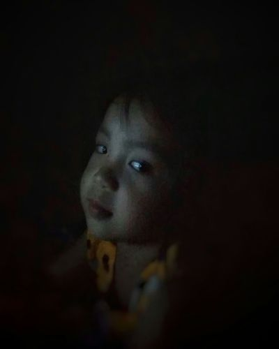 Nothing to be afraid of.Headshot One Person Child Looking At Camera Childhood One Girl Only Portrait Black Background Human Face Indoors  Close-up EyeEmNewHere The Portraitist - 2017 EyeEm Awards