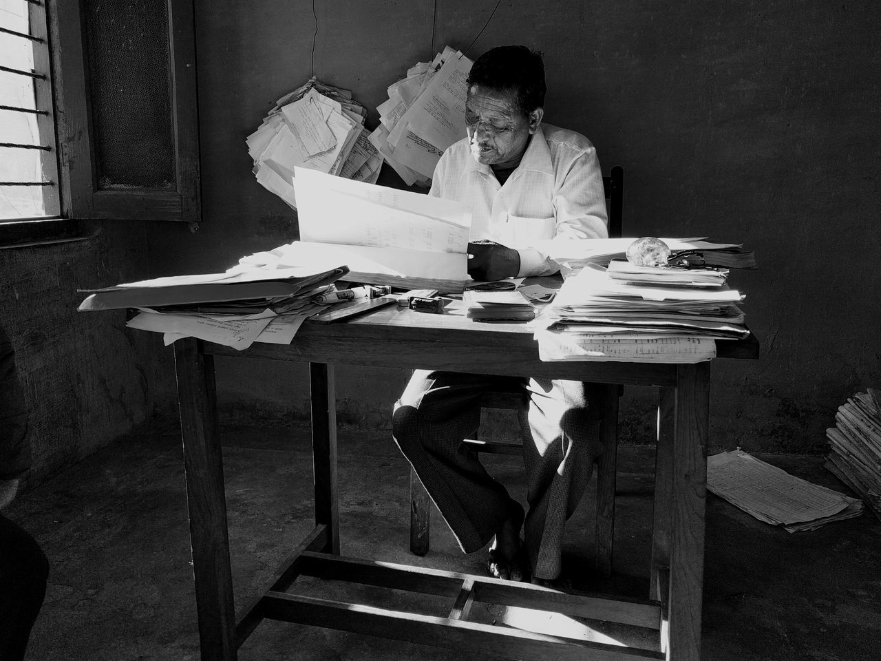 Archival Sitting One Man Only Chair One Person Table People Indoors  Occupation Day Food Service Occupation Only Men Paperwork Window Light Black & White Black And White Photography Portraits Oldtimer Black And White